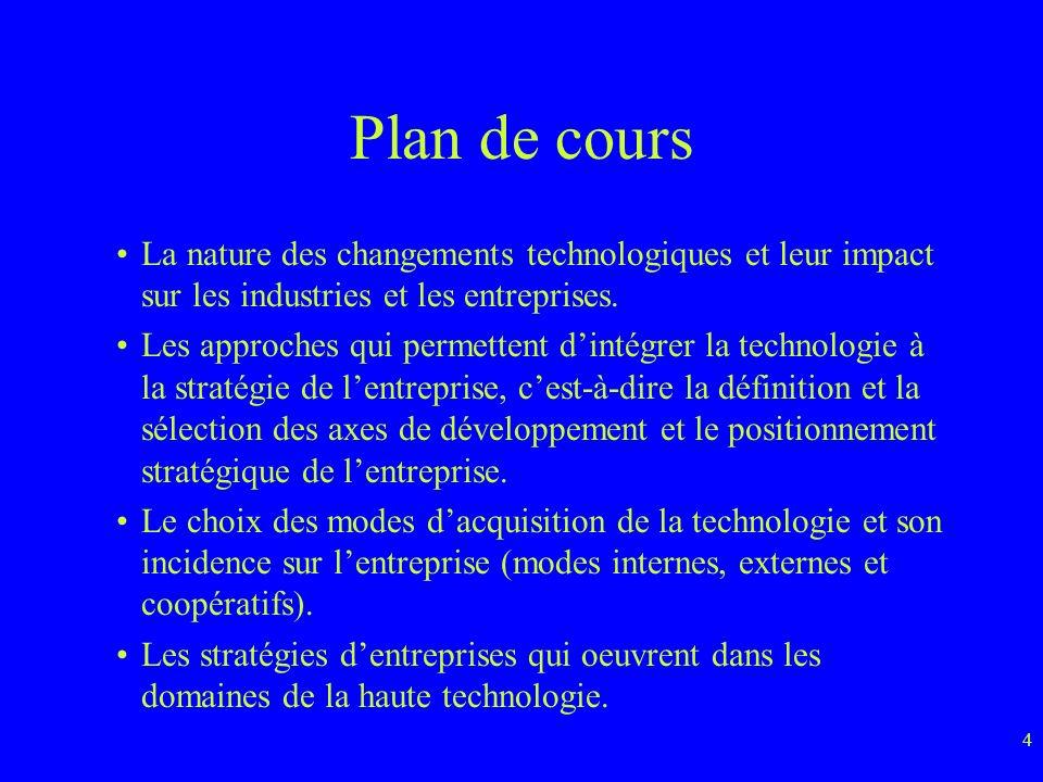 4 Plan de cours La nature des changements technologiques et leur impact sur les industries et les entreprises.