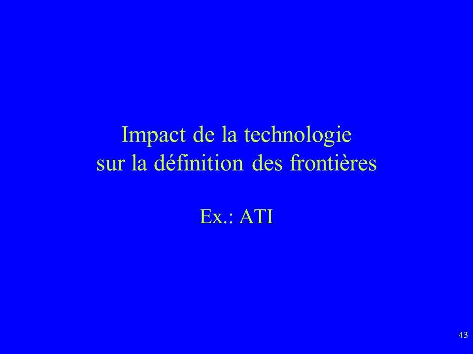 43 Impact de la technologie sur la définition des frontières Ex.: ATI