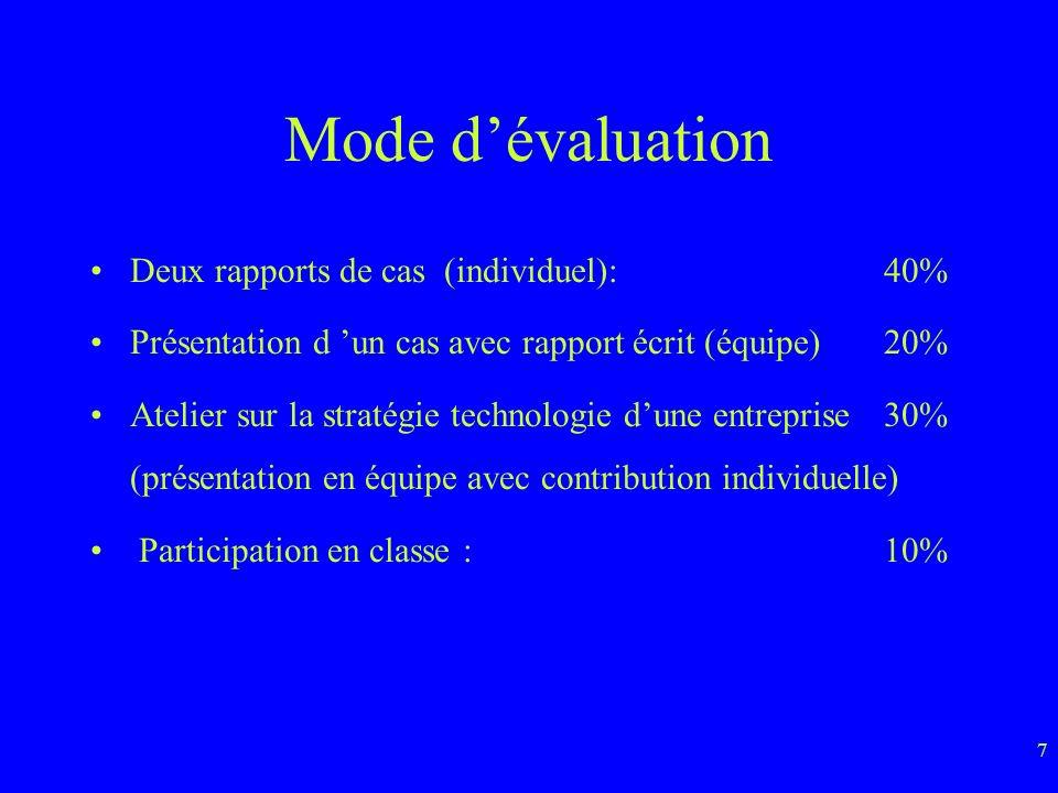 7 Mode dévaluation Deux rapports de cas (individuel):40% Présentation d un cas avec rapport écrit (équipe)20% Atelier sur la stratégie technologie dune entreprise30% (présentation en équipe avec contribution individuelle) Participation en classe :10%
