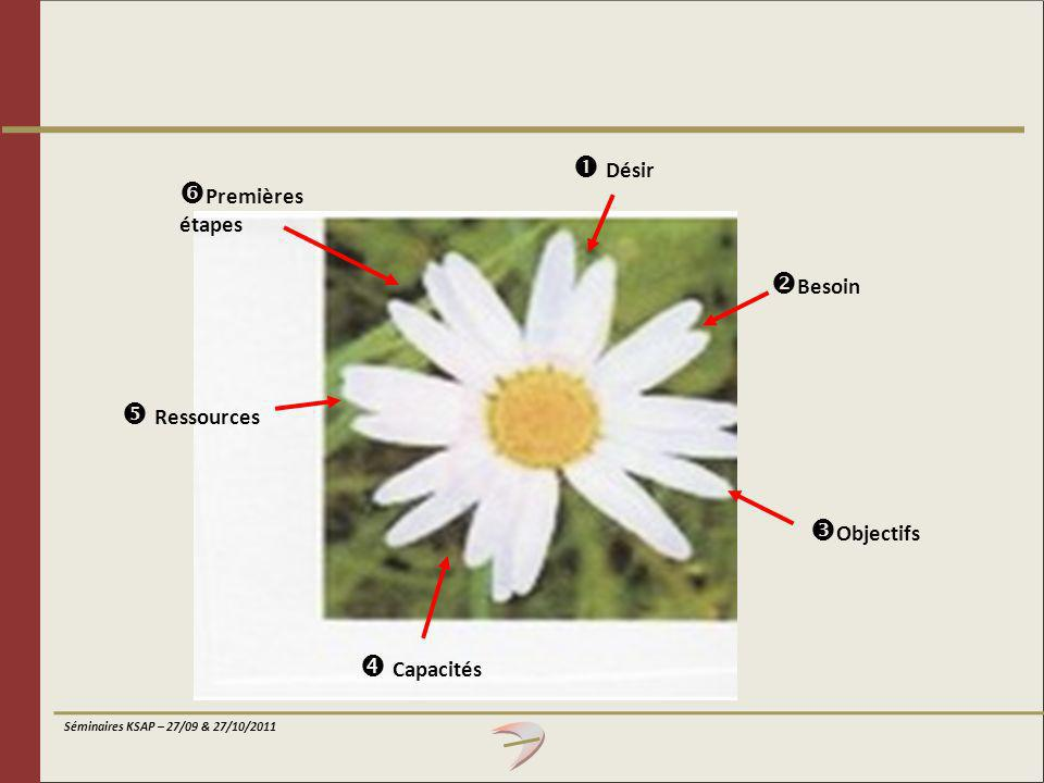 Séminaires KSAP – 27/09 & 27/10/2011 Désir Besoin Objectifs Capacités Ressources Premières étapes