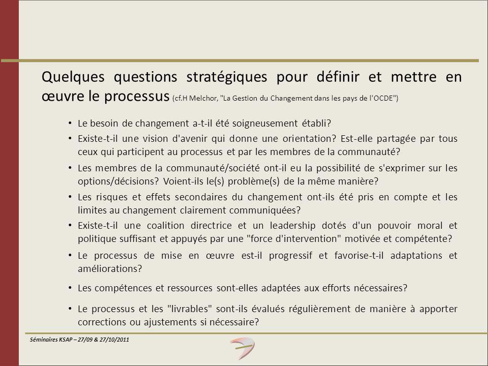 Séminaires KSAP – 27/09 & 27/10/2011 Quelques questions stratégiques pour définir et mettre en œuvre le processus (cf.H Melchor,