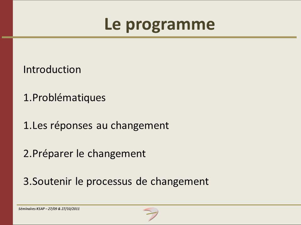 Séminaires KSAP – 27/09 & 27/10/2011 En conclusion, quelques facteurs traditionnels de résistance au changement : Individuels Collectifs Politiques Liés à la qualité de la mise en œuvre Liés au système organisationnel Liés au changement lui-même
