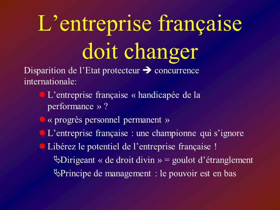 Lentreprise française doit changer Disparition de lEtat protecteur concurrence internationale: Lentreprise française « handicapée de la performance » .