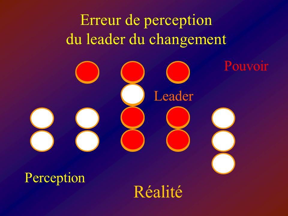 Erreur de perception du leader du changement Pouvoir Perception Réalité Leader