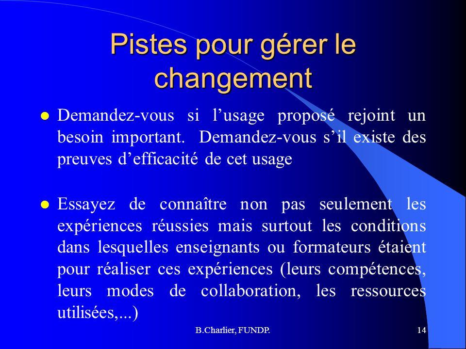 B.Charlier, FUNDP.14 Pistes pour gérer le changement l Demandez-vous si lusage proposé rejoint un besoin important.