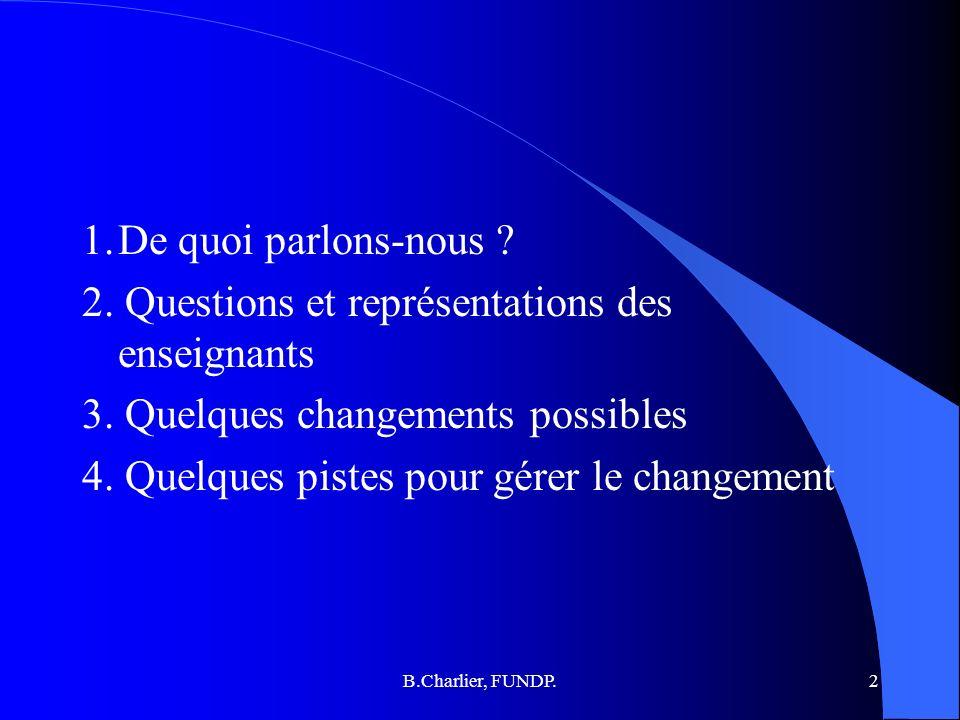 B.Charlier, FUNDP.2 1.De quoi parlons-nous .2. Questions et représentations des enseignants 3.
