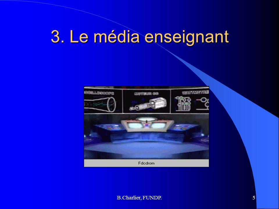 B.Charlier, FUNDP.5 3. Le média enseignant
