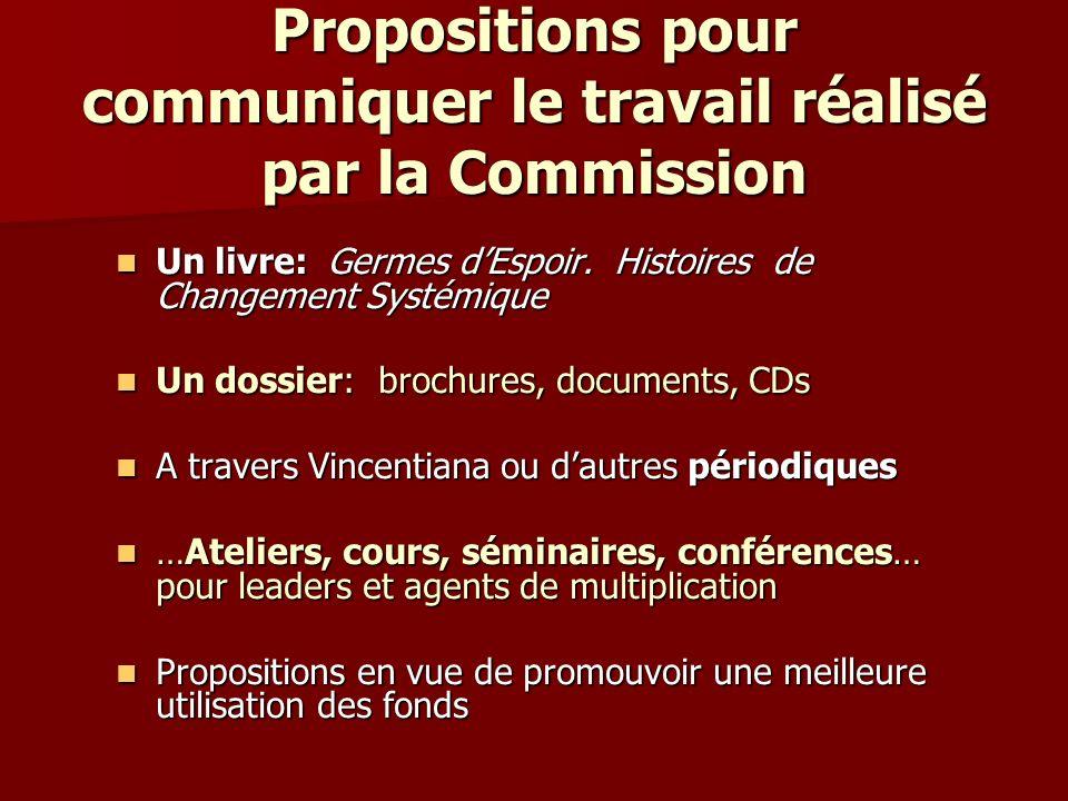Propositions pour communiquer le travail réalisé par la Commission Un livre: Germes dEspoir.