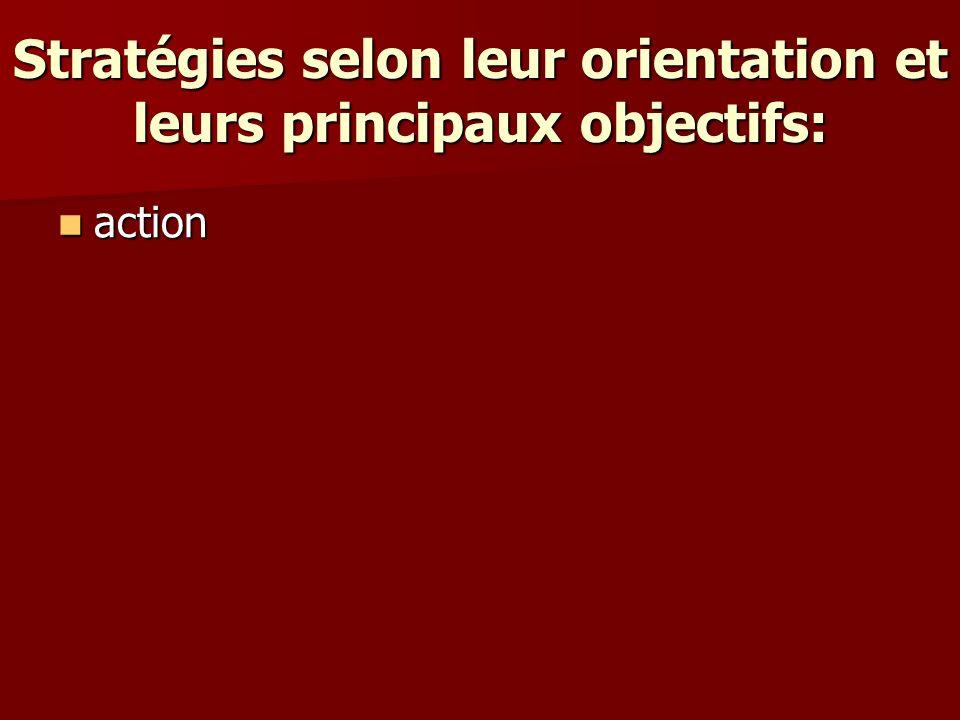 Stratégies selon leur orientation et leurs principaux objectifs: action action