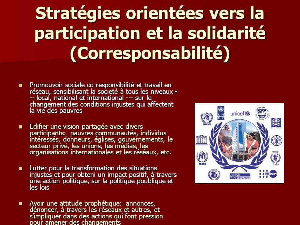 Stratégies orientées vers la participation et la solidarité (Corresponsabilité) Promouvoir sociale co-responsibilité et travail en réseau, sensibilisant la societé à tous les niveaux - -- local, national et international --- sur le changement des conditions injustes qui affectent la vie des pauvres Promouvoir sociale co-responsibilité et travail en réseau, sensibilisant la societé à tous les niveaux - -- local, national et international --- sur le changement des conditions injustes qui affectent la vie des pauvres Edifier une vision partagée avec divers participants: pauvres communautés, individus intéressés, donneurs, églises, gouvernements, le secteur privé, les unions, les médias, les organisations internationales et les réséaux, etc.