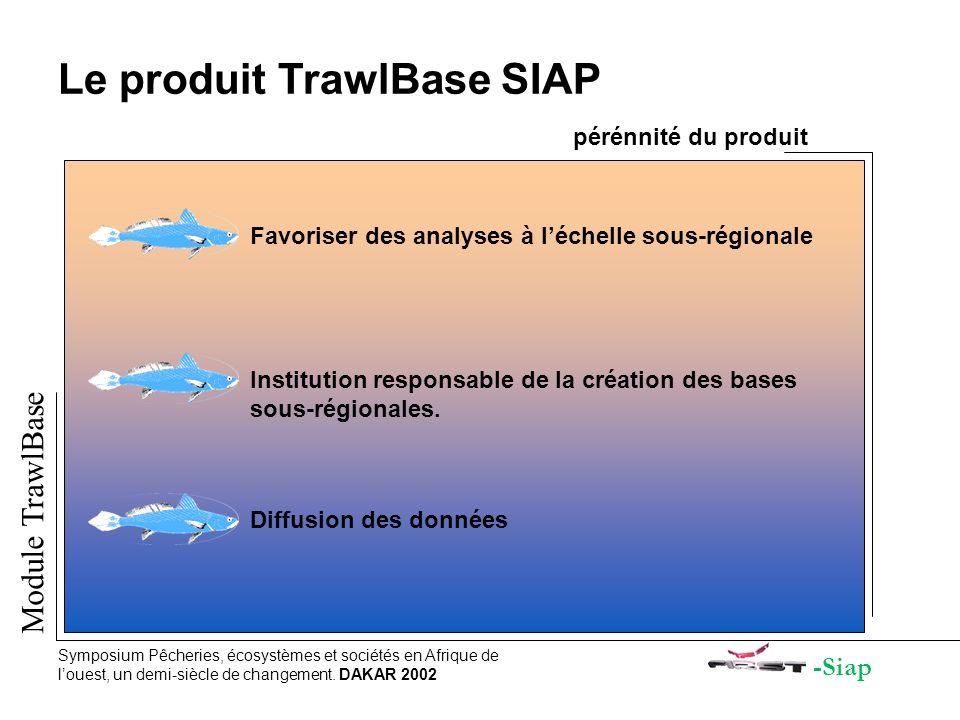 -Siap Module TrawlBase Symposium Pêcheries, écosystèmes et sociétés en Afrique de louest, un demi-siècle de changement. DAKAR 2002 Le produit TrawlBas