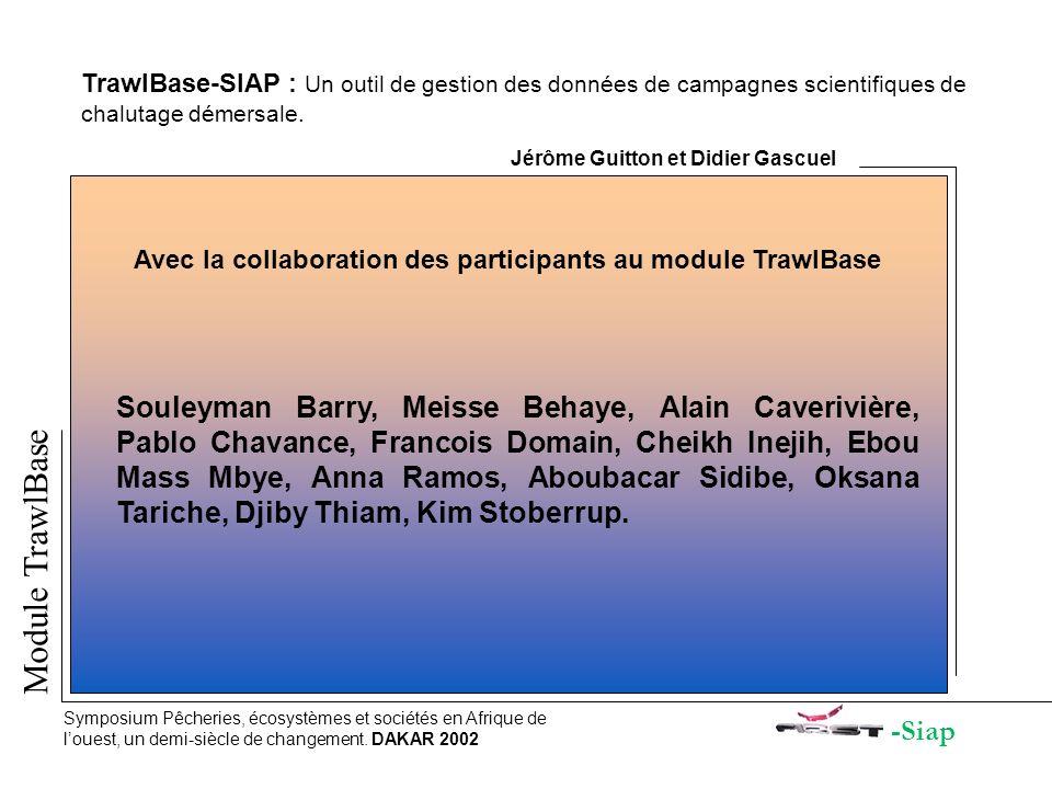 -Siap Module TrawlBase Symposium Pêcheries, écosystèmes et sociétés en Afrique de louest, un demi-siècle de changement. DAKAR 2002 TrawlBase-SIAP : Un