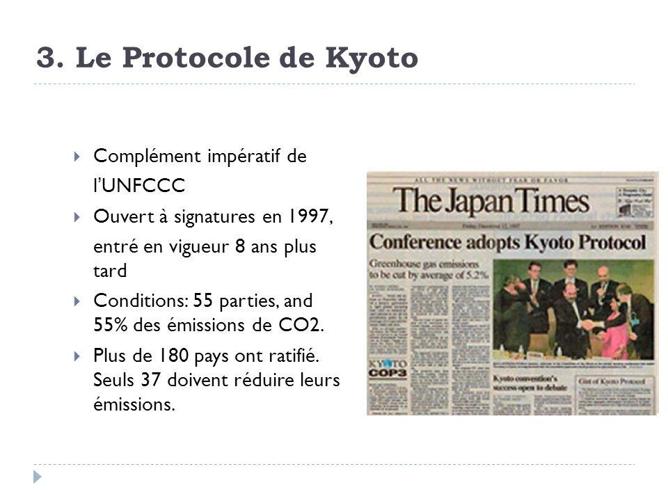 3. Le Protocole de Kyoto Complément impératif de lUNFCCC Ouvert à signatures en 1997, entré en vigueur 8 ans plus tard Conditions: 55 parties, and 55%