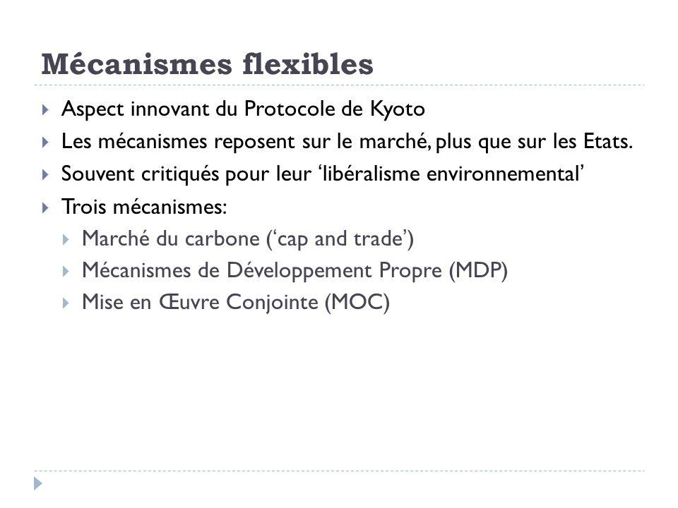 Mécanismes flexibles Aspect innovant du Protocole de Kyoto Les mécanismes reposent sur le marché, plus que sur les Etats. Souvent critiqués pour leur