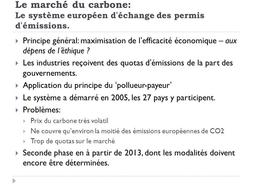 Le marché du carbone: Le système européen déchange des permis démissions. Principe général: maximisation de lefficacité économique – aux dépens de lét