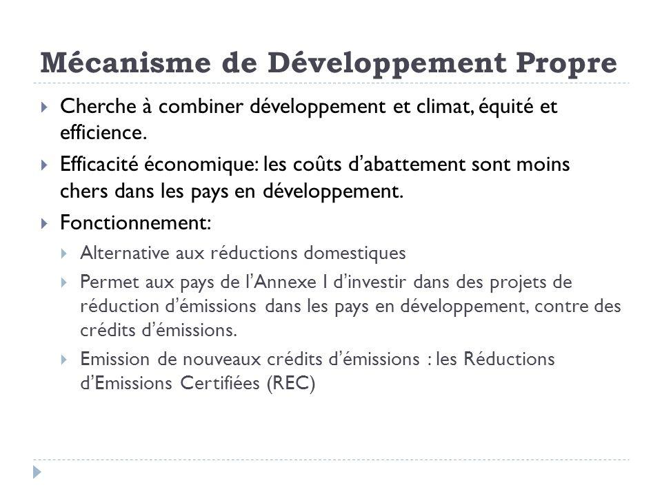 Mécanisme de Développement Propre Cherche à combiner développement et climat, équité et efficience. Efficacité économique: les coûts dabattement sont
