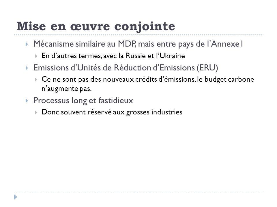 Mise en œuvre conjointe Mécanisme similaire au MDP, mais entre pays de lAnnexe I En dautres termes, avec la Russie et lUkraine Emissions dUnités de Ré