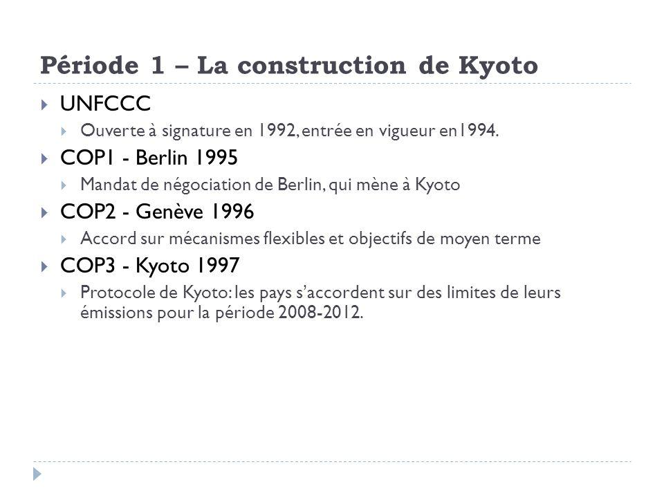 Période 1 – La construction de Kyoto UNFCCC Ouverte à signature en 1992, entrée en vigueur en1994. COP1 - Berlin 1995 Mandat de négociation de Berlin,