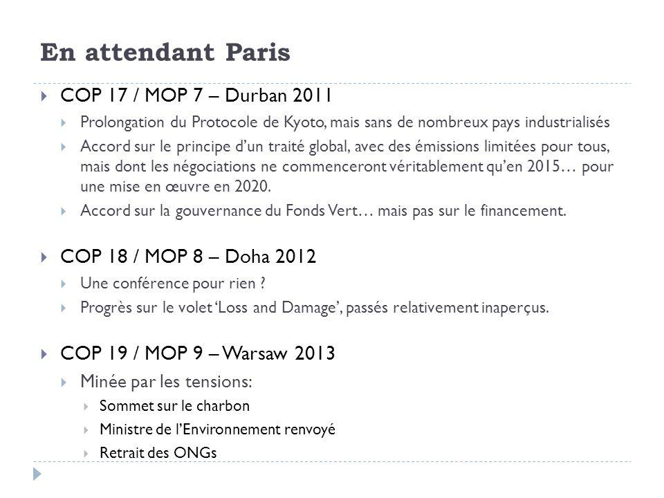 En attendant Paris COP 17 / MOP 7 – Durban 2011 Prolongation du Protocole de Kyoto, mais sans de nombreux pays industrialisés Accord sur le principe d
