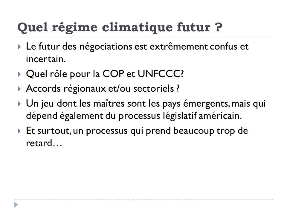 Quel régime climatique futur ? Le futur des négociations est extrêmement confus et incertain. Quel rôle pour la COP et UNFCCC? Accords régionaux et/ou