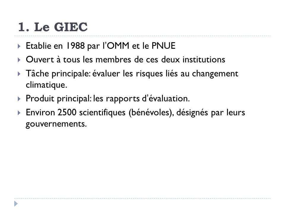 1. Le GIEC Etablie en 1988 par lOMM et le PNUE Ouvert à tous les membres de ces deux institutions Tâche principale: évaluer les risques liés au change