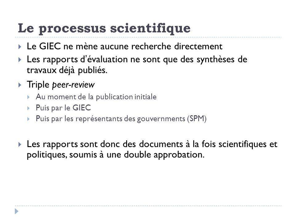 Le processus scientifique Le GIEC ne mène aucune recherche directement Les rapports dévaluation ne sont que des synthèses de travaux déjà publiés.