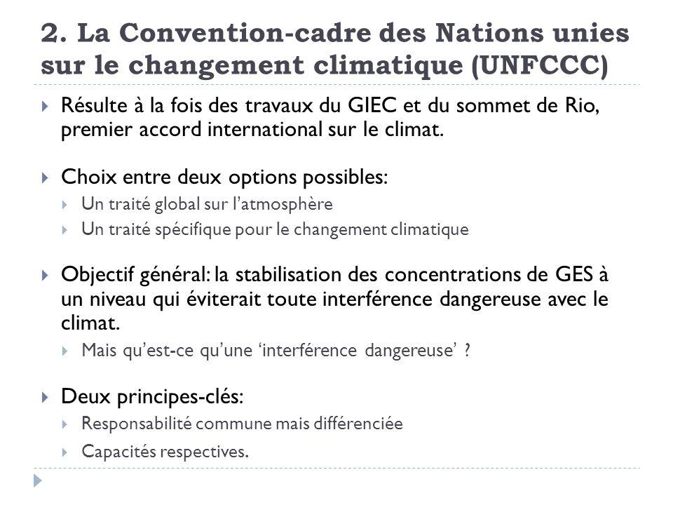 2. La Convention-cadre des Nations unies sur le changement climatique (UNFCCC) Résulte à la fois des travaux du GIEC et du sommet de Rio, premier acco