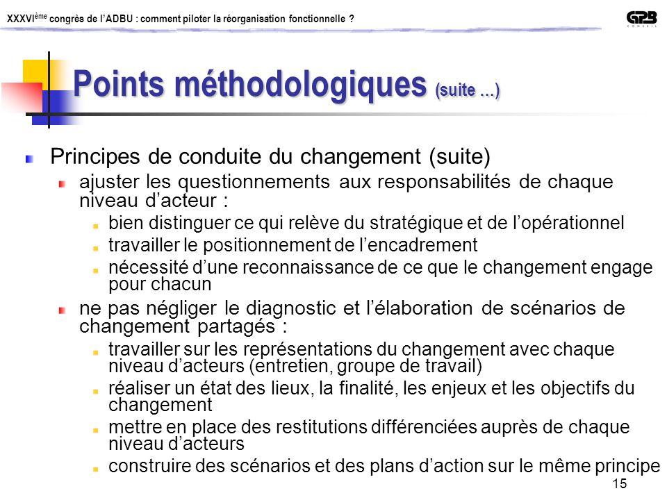 XXXVI ème congrès de lADBU : comment piloter la réorganisation fonctionnelle ? 15 Points méthodologiques (suite …) Principes de conduite du changement