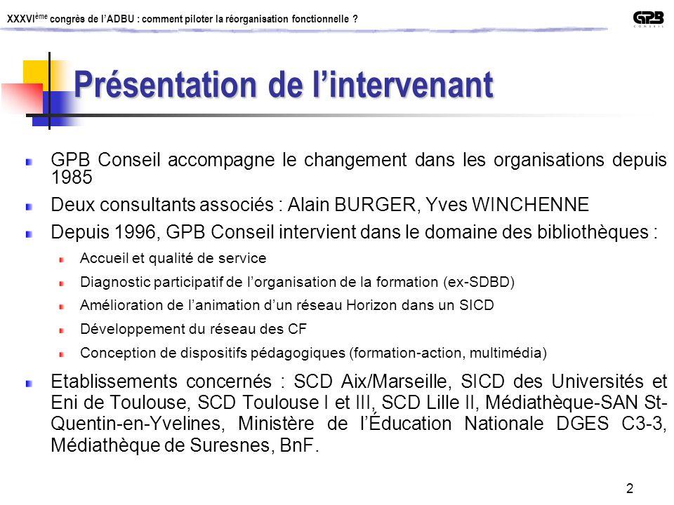 XXXVI ème congrès de lADBU : comment piloter la réorganisation fonctionnelle ? 2 Présentation de lintervenant GPB Conseil accompagne le changement dan