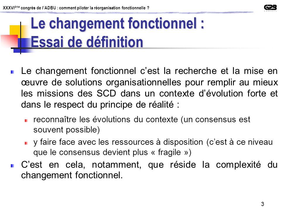 XXXVI ème congrès de lADBU : comment piloter la réorganisation fonctionnelle ? 3 Le changement fonctionnel : Essai de définition Le changement fonctio