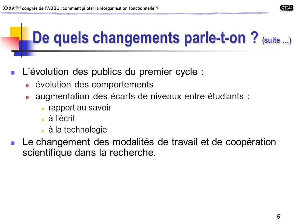 XXXVI ème congrès de lADBU : comment piloter la réorganisation fonctionnelle ? 5 Lévolution des publics du premier cycle : évolution des comportements