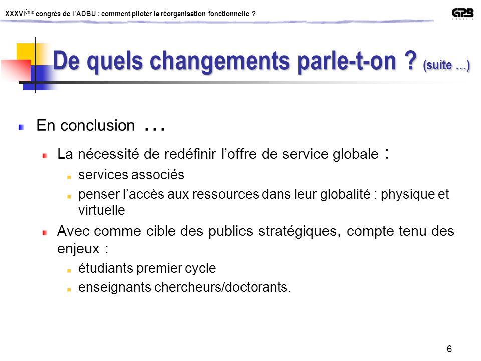 XXXVI ème congrès de lADBU : comment piloter la réorganisation fonctionnelle ? 6 En conclusion … La nécessité de redéfinir loffre de service globale :