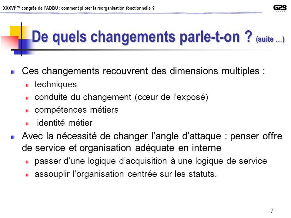 XXXVI ème congrès de lADBU : comment piloter la réorganisation fonctionnelle ? 7 Ces changements recouvrent des dimensions multiples : techniques cond