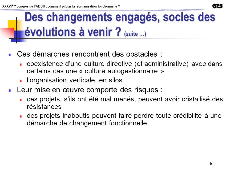 XXXVI ème congrès de lADBU : comment piloter la réorganisation fonctionnelle ? 9 Ces démarches rencontrent des obstacles : coexistence dune culture di
