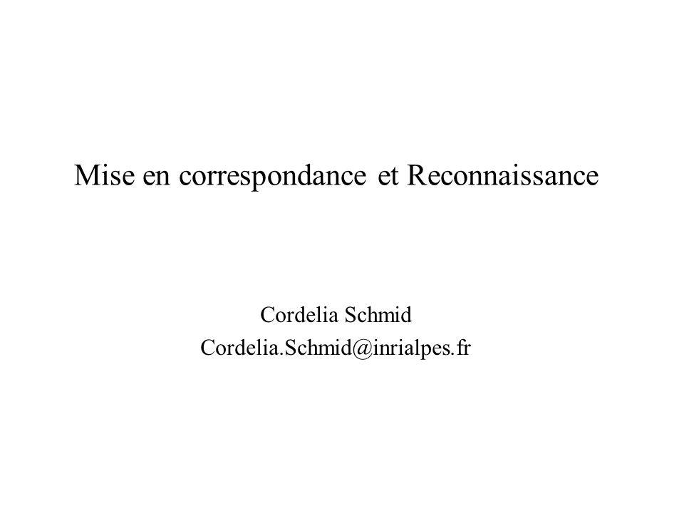 Mise en correspondance et Reconnaissance Cordelia Schmid Cordelia.Schmid@inrialpes.fr