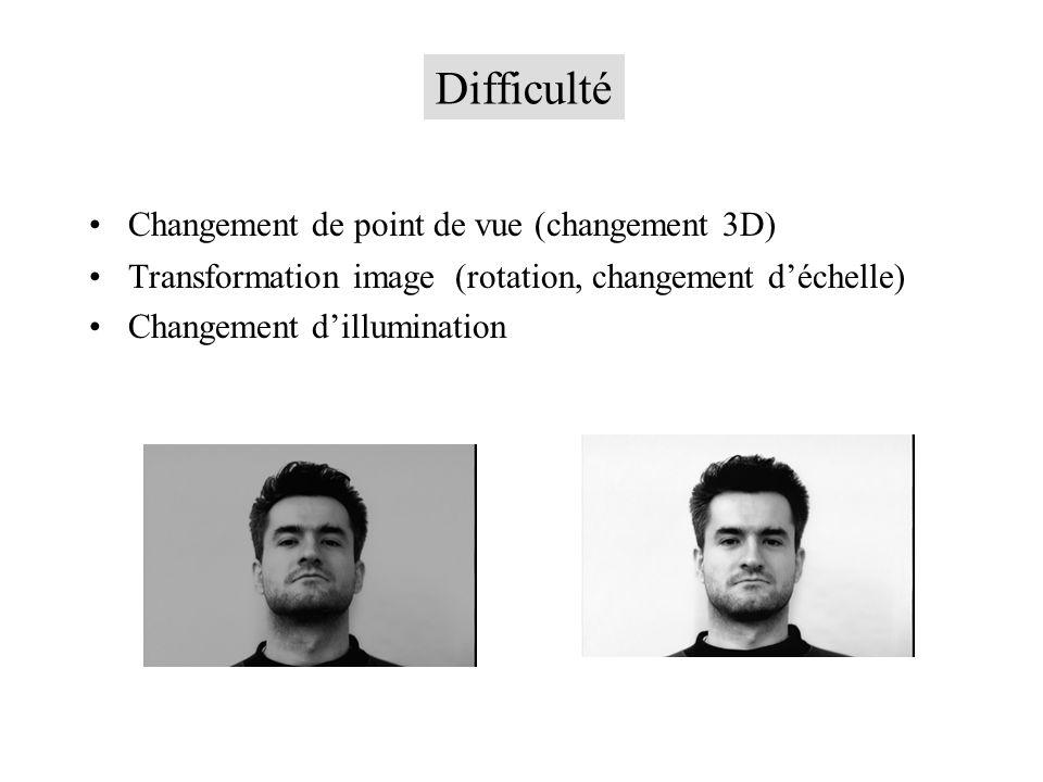 Changement de point de vue (changement 3D) Transformation image (rotation, changement déchelle) Changement dillumination Difficulté