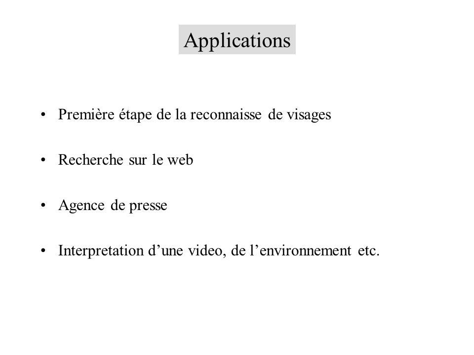 Applications Première étape de la reconnaisse de visages Recherche sur le web Agence de presse Interpretation dune video, de lenvironnement etc.
