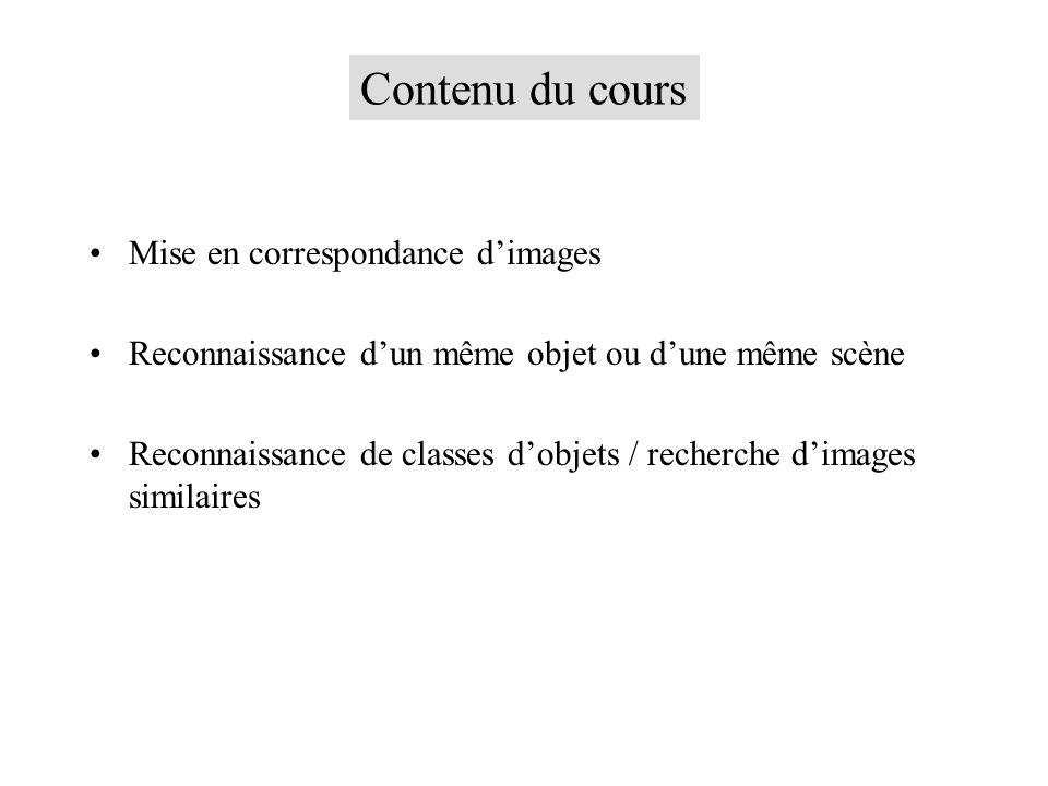 Contenu du cours Mise en correspondance dimages Reconnaissance dun même objet ou dune même scène Reconnaissance de classes dobjets / recherche dimages similaires
