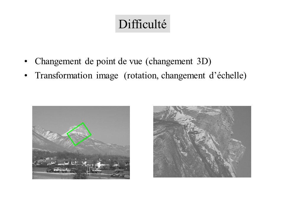 Changement de point de vue (changement 3D) Transformation image (rotation, changement déchelle) Difficulté