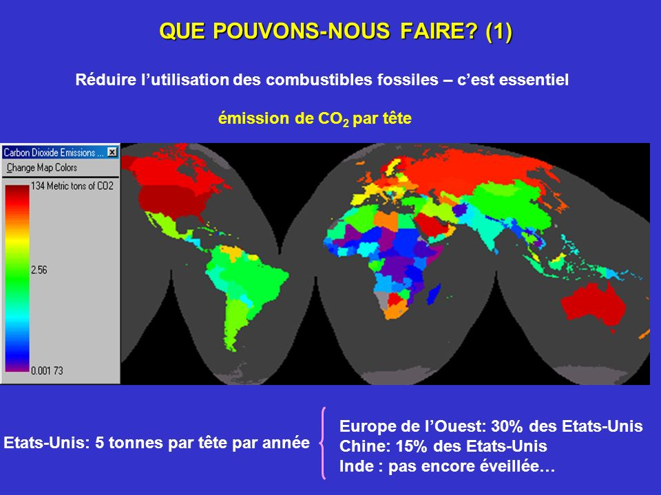 QUE POUVONS-NOUS FAIRE? (1) Réduire lutilisation des combustibles fossiles – cest essentiel émission de CO 2 par tête Europe de lOuest: 30% des Etats-