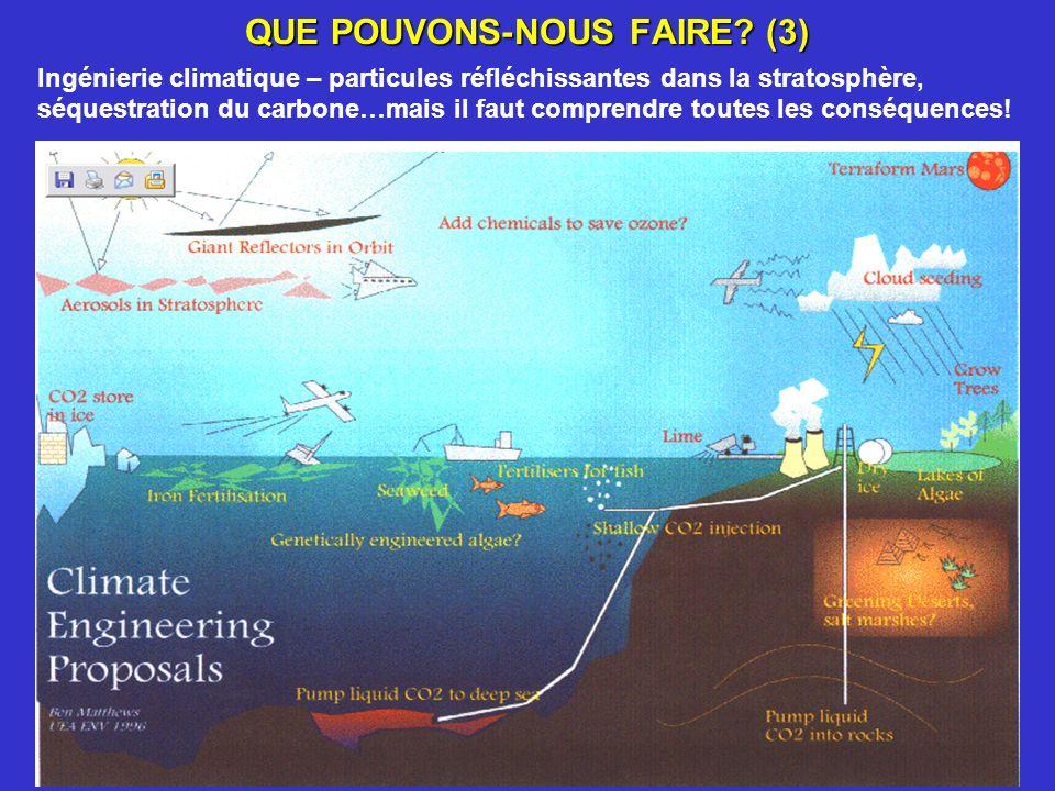 QUE POUVONS-NOUS FAIRE? (3) Ingénierie climatique – particules réfléchissantes dans la stratosphère, séquestration du carbone…mais il faut comprendre