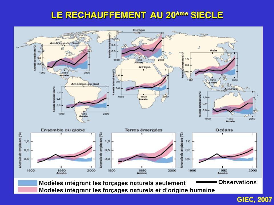 LE RECHAUFFEMENT AU 20 ème SIECLE Observations Modèles intégrant les forçages naturels seulement Modèles intégrant les forçages naturels et dorigine h