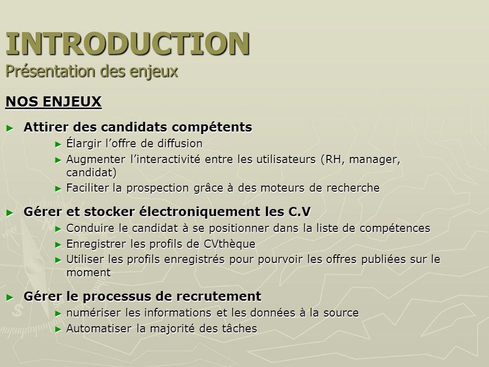 INTRODUCTION La méthodologie utilisée : 4 étapes - clés Benchmarking Benchmarking des sites de e-recrutement dentreprise (CERN, INRIA, LOREAL, SOITEC, SOLEIL, ST MICRO, TOTAL, VINCI) des sites de e-recrutement dentreprise (CERN, INRIA, LOREAL, SOITEC, SOLEIL, ST MICRO, TOTAL, VINCI) recueil de deux retours dexpérience : INRIA, ST MICROELECTRONICS (conduite d entretiens auprès RRH) recueil de deux retours dexpérience : INRIA, ST MICROELECTRONICS (conduite d entretiens auprès RRH) Modification, réduction de lA.F version papier actuelle Modification, réduction de lA.F version papier actuelle Conduite dentretiens auprès de : chefs de division, gestionnaires en back office Conduite dentretiens auprès de : chefs de division, gestionnaires en back office Etude de larchitecture actuelle du site Etude de larchitecture actuelle du site Recueil des incompatibilités techniques Recueil des incompatibilités techniques Recueil des différentes possibilités techniques de syst.