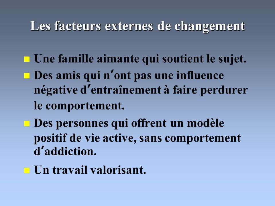 Les facteurs externes de changement Une famille aimante qui soutient le sujet.