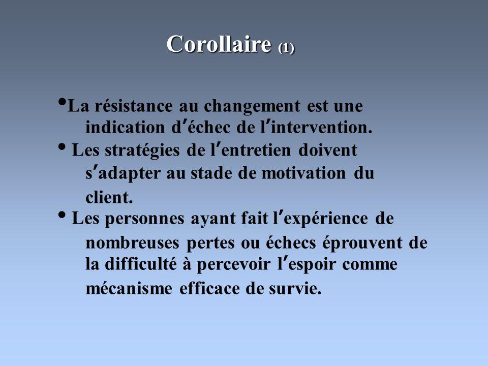 Corollaires (2) Avec laide de la soignante, la personne doit décider elle-même de changer et trouver les moyens de le faire.