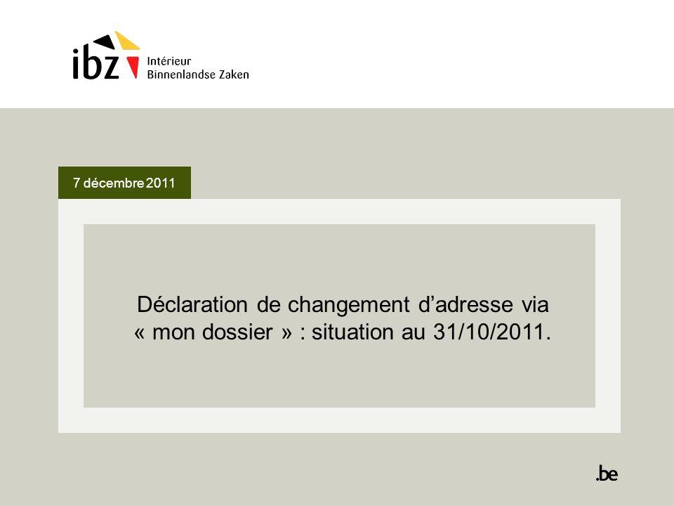 7 décembre 2011 Déclaration de changement dadresse via « mon dossier » : situation au 31/10/2011.