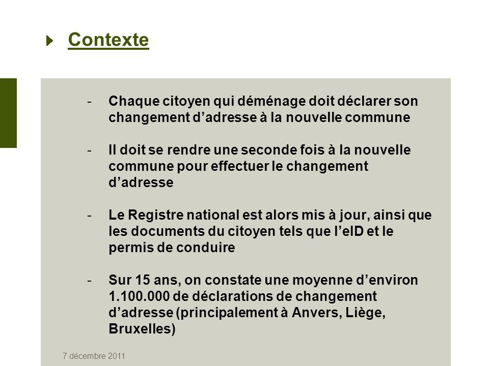 7 décembre 2011 Contexte -Chaque citoyen qui déménage doit déclarer son changement dadresse à la nouvelle commune -Il doit se rendre une seconde fois à la nouvelle commune pour effectuer le changement dadresse -Le Registre national est alors mis à jour, ainsi que les documents du citoyen tels que leID et le permis de conduire -Sur 15 ans, on constate une moyenne denviron 1.100.000 de déclarations de changement dadresse (principalement à Anvers, Liège, Bruxelles)