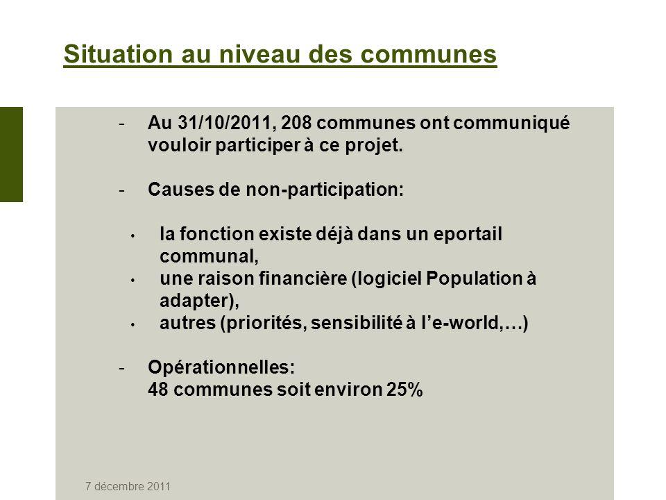 7 décembre 2011 Situation au niveau des communes -Au 31/10/2011, 208 communes ont communiqué vouloir participer à ce projet.