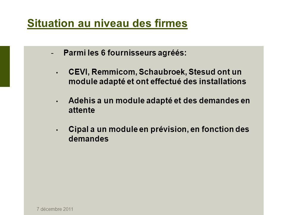 7 décembre 2011 Situation au niveau des firmes -Parmi les 6 fournisseurs agréés: CEVI, Remmicom, Schaubroek, Stesud ont un module adapté et ont effectué des installations Adehis a un module adapté et des demandes en attente Cipal a un module en prévision, en fonction des demandes