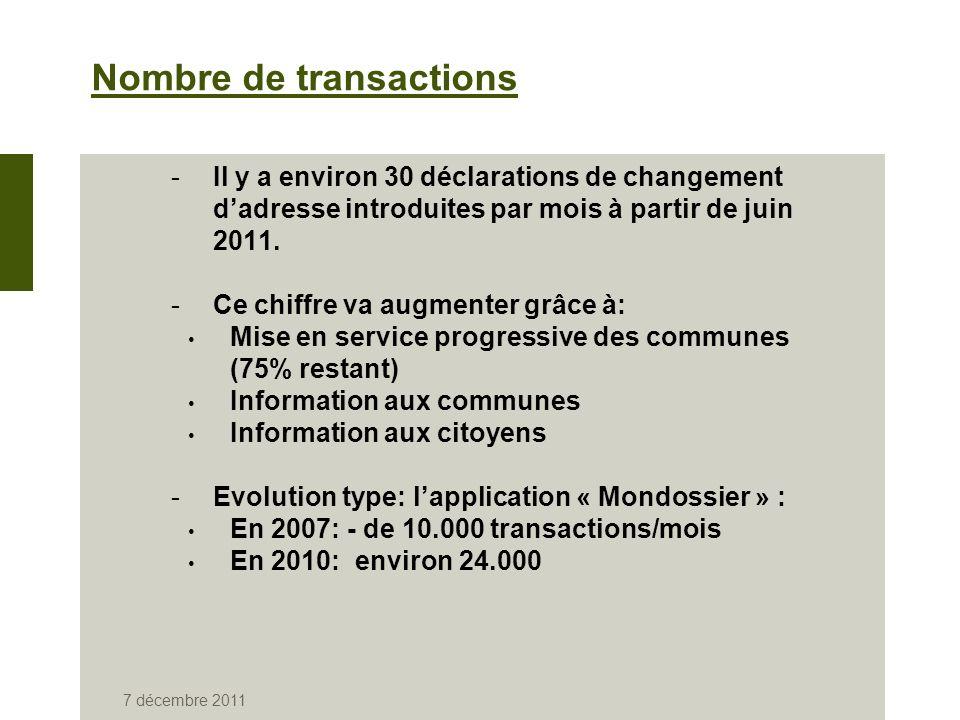 7 décembre 2011 Nombre de transactions -Il y a environ 30 déclarations de changement dadresse introduites par mois à partir de juin 2011.